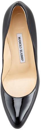 Manolo Blahnik Foka Almond-Toe Leather Pump