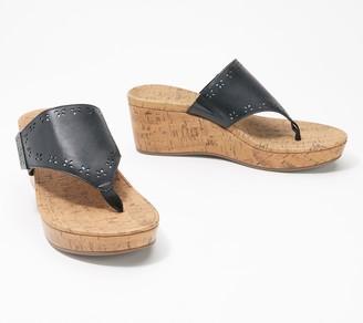 Vionic Leather Platform Toe Post Sandals - Anitra