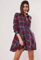 Missguided Petite Burgundy Tartan Brushed Skater Shirt Dress