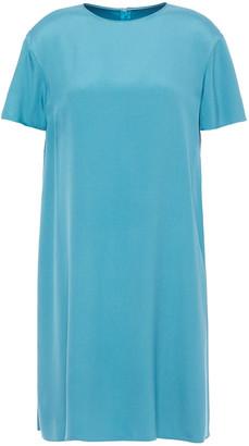 Valentino Pleated Two-tone Silk-twill Mini Dress