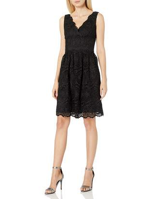 Adrianna Papell Women's Vneck Sleeveless Fit and Flare Lace Dress