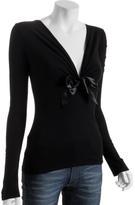black bow tie v-neck t-shirt