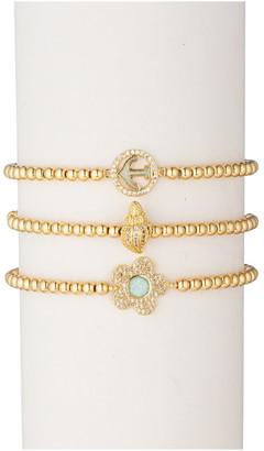 Eye Candy Los Angeles 18K Gold Plated Beaded Stretch Bracelet - 3-Piece Set