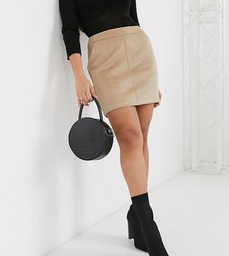 Vero Moda Petite mini skirt in tan faux suede