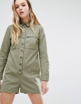 Daisy Street Military Romper With Pockets