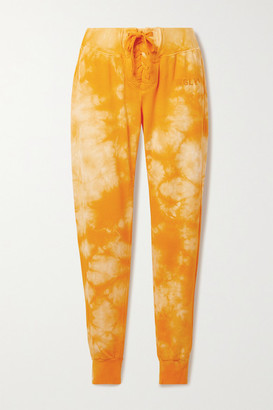 WSLY Lace-up Tie-dyed Organic Cotton-blend Jersey Track Pants - Saffron