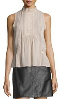 Joie Raffe Lace-Inset Sleeveless Silk Top