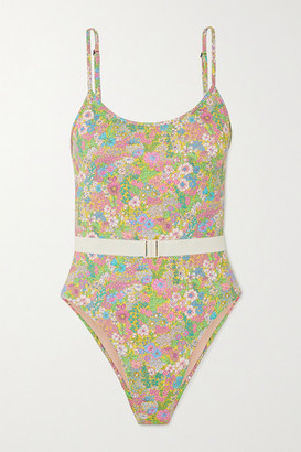 Les Girls Les Boys Belted Floral-print Swimsuit - Green