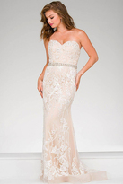 Jovani Strapless Mermaid Pageant Dress with embellished waist 48724