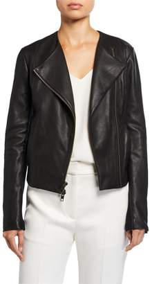 Vince Rib Panel Leather Moto Jacket