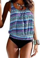 XIAOLI COLLETION Two Colors Women Plus Size Floral Print Two Piece Swimsuit Blouson Adjustable StripesTankini Set