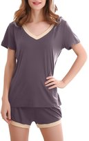 GYS Women's Bamboo Sleepwear Short Sleeve V Neck Pajama Top with Pj Shorts (5 Colors,S-2XL) (XL, )
