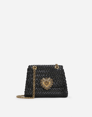 Dolce & Gabbana Small Devotion Shoulder Bag In Woven Nappa Leather