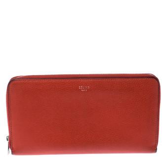 Celine Orange Leather Multi-function Zip Around Wallet