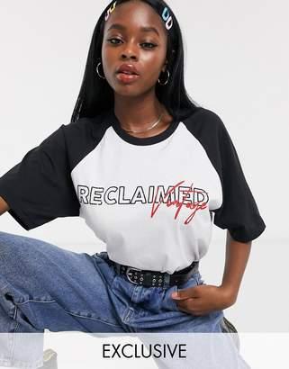 Reclaimed Vintage inspired raglan t-shirt with logo print-White
