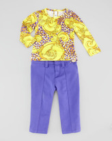 Versace Twill Pants with Medusa Coin, 3-9 Months
