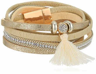 Panacea Women's Ivory Leather Mag Wrap Bracelet One Size