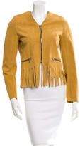 Sandro Collarless Fringe-Trimmed Jacket