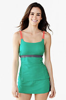 Classic Women's Petite AquaSport Scoop Tankini Swimsuit Top-Mint/Light Gray