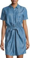 Neiman Marcus Linen Chambray Short-Sleeve Shirtdress, Denim Blue