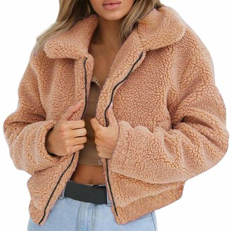 Canifon Coats Artificial Wool Solid Color Lapel Long Sleeve Zipper Casual Loose Warm Winter Canifon Women's Coats Outdoor Jackets Khaki