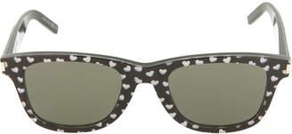 Saint Laurent Square Acetate Sunglasses with Glitter Hearts