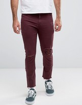 Asos Skinny 5 Pocket Pants In Burgundy With Rips And Distressing