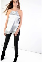 Glamorous Silver Double Layered Longline Top