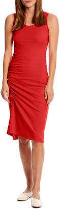 Michael Stars Natalia Ruched Stretch Cotton Tank Dress