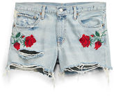 Denim & Supply Ralph Lauren Rose-Embroidered Denim Short