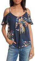 Joie Women's Adorlee Print Silk Cold Shoulder Top