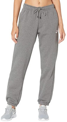 Nike NSW Essential Pants Loose Fleece (Charcoal Heather/White) Women's Clothing