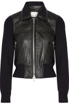 3.1 Phillip Lim Paneled Ribbed Stretch-wool And Leather Jacket - Black
