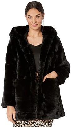 Love Token Wyatt Hooded Faux Fur Coat (Black) Women's Clothing