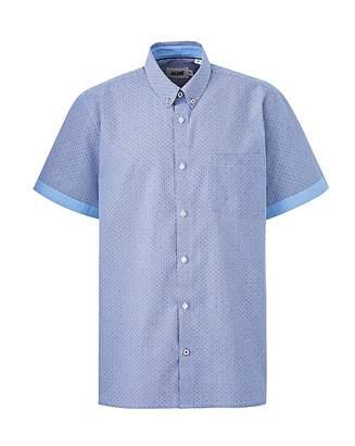Jacamo Navy Printed Short Sleeve Shirt Long