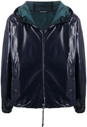 Emporio Armani Faux-Leather Hooded Jacket