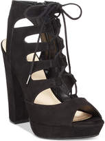 Bar III Nelly Lace-Up Block-Heel Platform Sandals, Created for Macy's Women's Shoes