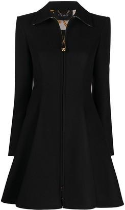 Versace Zip Accent Flared Coat