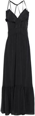 Vanessa Bruno Leda Crochet-trimmed Ruffled Silk Crepe De Chine Maxi Dress