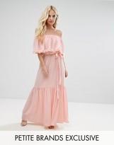 John Zack Petite Off Shoulder High Low Maxi Dress With 3D Rose Applique Detail