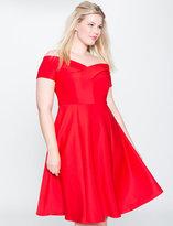 ELOQUII Plus Size Off the Shoulder Skater Dress