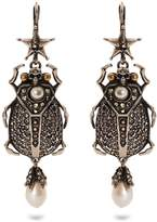 Alexander McQueen Embellished-beetle earrings