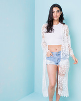 Missy Empire Marrisa Cream Crochet Kimono