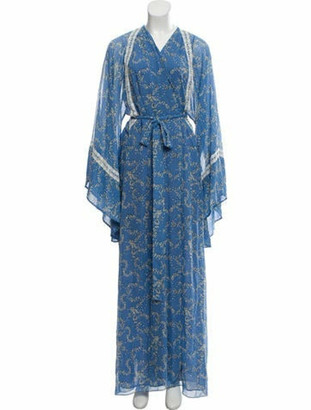 Luisa Beccaria Silk Printed Wrap Dress w/ Tags white