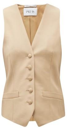 Pallas Paris Gambler V-neck Wool Waistcoat - Beige