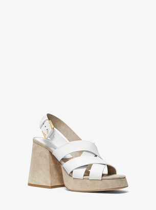 Michael Kors Estella Calf Leather Platform Sandal