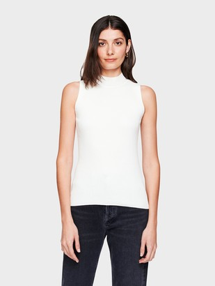 White + Warren Cotton Ribbed Mockneck Tank