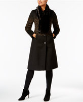 Jones New York Animal-Print Walker Coat with Faux-Fur Scarf
