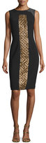 Theia Sleeveless Beaded Cocktail Dress, Black/Gold