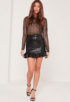 Missguided Black Frill Hem Foil Mesh Mini Skirt
